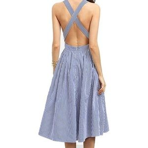 Blue Midi Pinstriped Dress with CrissCross back